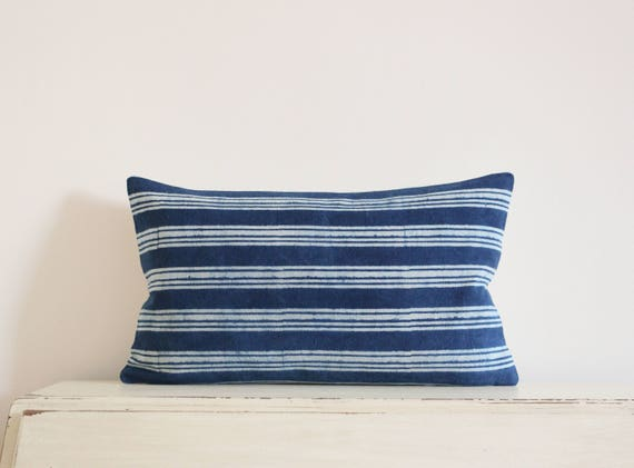 "Indigo batik stripe pillow cushion cover 12"" X 20"""