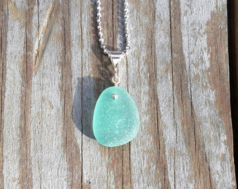 Genuine Beach Sea Glass Sterling Silver Pendant - Aqua