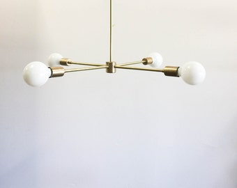 Modern brass sputnik arm inspired chandelier • UL Listed - Grant