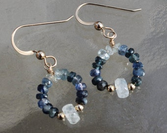 Sapphire and Moonstone Earrings 14Kt Gold for Her approximately 1 1/2""