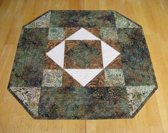 Quilted Table Topper, Green and Brown Batik with Cream