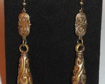 Ornate Swirl Repousse Natural Faceted Ruby Pierced Hook Dangle Drop Earrings