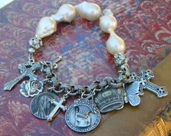 VINTAGE CHARM BRACELET vintage repurposed assemblage jewelry flameball pearl religious french medals charm silver sterling atelier paris