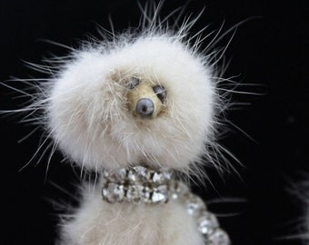 Vintage 1950's White Mink Poodle Bow Rhinestone Brooch