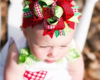 watermelon bow, watermelon headband, cake smash bow, birthday bow, watermelon hair bow, watermelon bows, watermelon headband, red green bow
