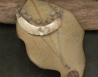 Fluorite and Quartz Three Tiered Moon Necklace in Sterling Silver