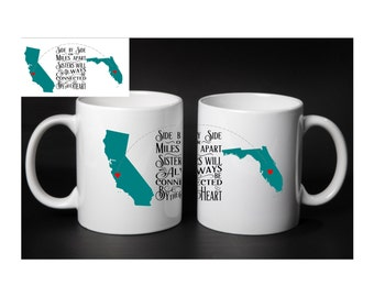 Sisters Mug Set, Long Distance Sisters, Gifts for sisters, Sisters Coffee Mug, Sisters Love, State to State Sisters, Different Country Sis