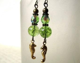 Ocean Jewelry Beach Earrings Green Sea Earrings Seahorse Earrings Sea Horse Earrings Brass Earrings Green Crystal Earrings-Summer