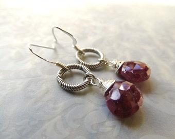 Ruby Earrings Ruby Red Earrings Sterling Silver Ruby Earrings Ruby Jewelry Ruby Silver Circle Earrings Red Dangle Earrings- Love