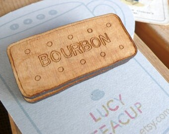 Biscuit Wooden Brooch- laser cut jewellery hand painted for tea lovers and biscuit dunkers. Bourbon biscuit badge