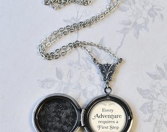 Every Adventure requires a First Step, Cheshire Cat quote locket, quote jewelry keepsake photo locket Alice jewelry Wonderland jewelry