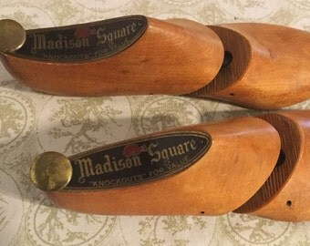 "Vintage Wood Madison Square ""Knockouts"" Wooden Shoe Stretchers, Shoe Last,Shoe Forms"
