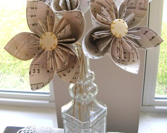 Sheet Music Origami Kusudama Paper Flowers - Music Gift Paper Bouquet Set of 4 - First Paper Anniversary, 1st Anniversary Gift