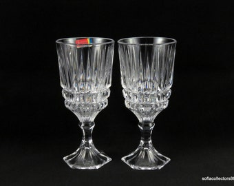 fostoria heritage pattern crystal water glasses water goblets with original label vintage fostoria glass - Water Goblets