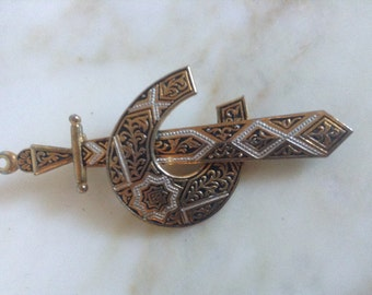 Vintage Sword Pin Brooch Damascene Crescent Moon Middle Eastern Jewelry