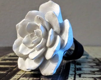 Wine Bottle Stopper - White Flower Ceramic Wine Stopper