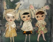 Blythe ~ Reserved for Carolyn ~ 3 Rabbit Helmet and Cape Costumes~ 2 Piece Outfits each  ~  By KarynRuby