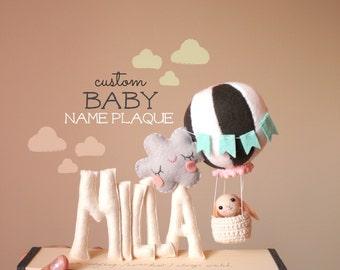 Hot Air Balloon Nursery Decor, Baby Name Plaque