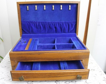 Vintage Luxury Jewelry Box by Thorens Musical Swiss Wood Large