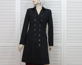 Vintage Black Long Coat Anne Klein II Size 4 Small 1980s