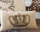 Crown Pillow Vintage Style 7X12 Black Cream Print Ticking Romantic Shabby Chic Victorian Cottage French Farmhouse Style Decor Accent Pillow