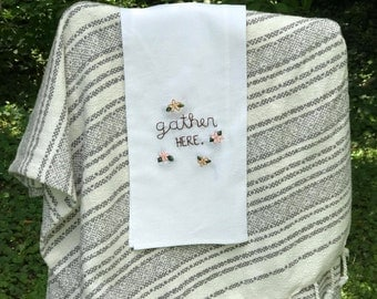 Hand-sewn Gather Here Decorative Tea Towel
