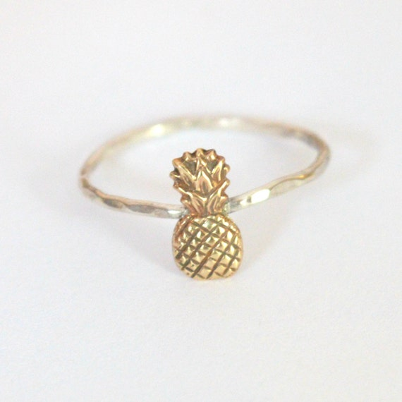 mini pineapple ring sterling silver and gold brass tiny