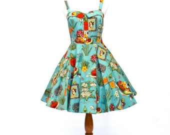 25% OFF SALE 50's/60's Vintage Fit and Flare Dress, 50's Retro Dress, Viva Mexico Dress