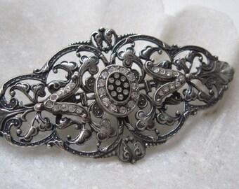 Vintage 925 Silver Filigree and Rhinestone Brooch