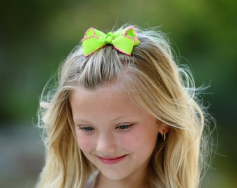 Lime & Hot Pink Medium Moonstitch Hair Bow