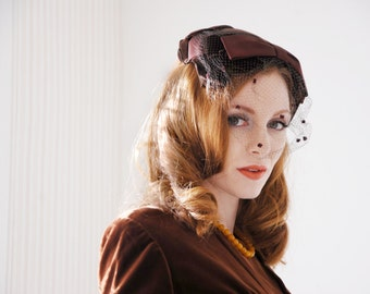 Vintage 1950s brown velvet hat, netting veil, formal pin-up