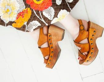 Vintage platform sandals, wooden leather shoes, wood boho retro 1970s 7