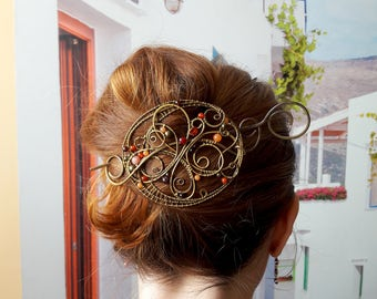 Large Hair fork, Hair Slide, Wire Wrapped Brass Hair Fork, barrette, large shawl pin Hair clip, Metal Hair stick, Women accessories, bun pin