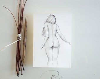 Original Nude Art Drawing- Pencil nude drawing, female nude art, nude pencil drawing, female nude drawing, pencil art, design de nu, nude