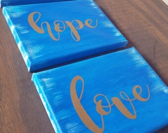Discounted**  Faith Hope Love Hand Painted Canvases
