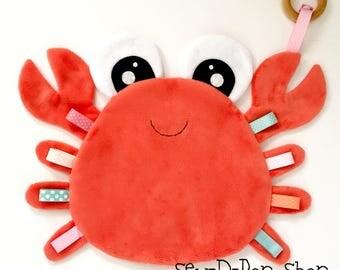 Crab baby blanket lovie play sensory teething toy friend