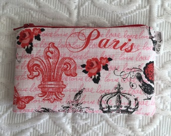 Paris Coin Purse, Wallet, Change, hearts, crown, roses, Red, Black, White, zipper pouch, handmade
