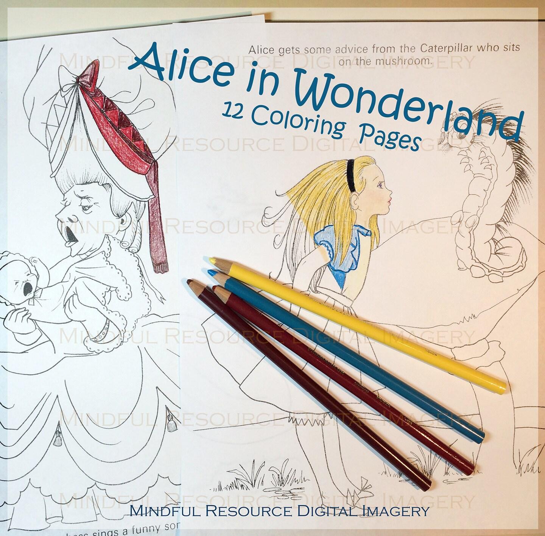 alice in wonderland coloring set 1971 printable vintage alice