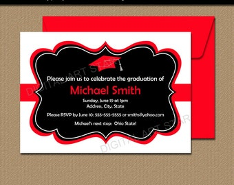 Graduation Invitation Instant Download - Black Red Graduation Invitation Printable - Editable High School Graduation Invitation Download G1
