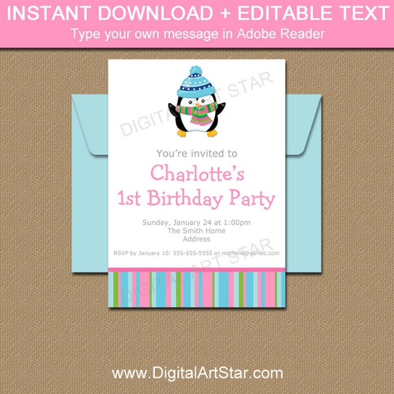 Editable winter birthday invitation printable girl birthday party il570xn filmwisefo Image collections