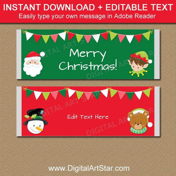 Christmas Candy Bar Wrappers, PRINTABLE Christmas Candy Wrappers ...