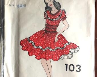 "1970's C&C Original Square Dance Dress pattern - Bust 40 - 44"" - No. 103"