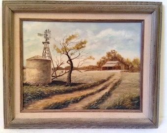 Country FARM LANDSCAPE Painting Framed Signed Lena Bran 78 Almost Yesteryear Vintage