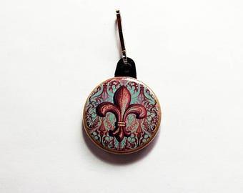 Fleur de lis Zipper pull, Fleur de lis Zipper charm, Stocking stuffer, backpack zipper pull, Quebec, Montreal 350, Brown Fleur de lis (7646)