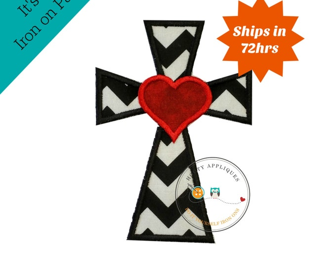 Cross with heart in black and white pen dot fabric - iron embroidered fabric applique patch embellishment- ready to ship