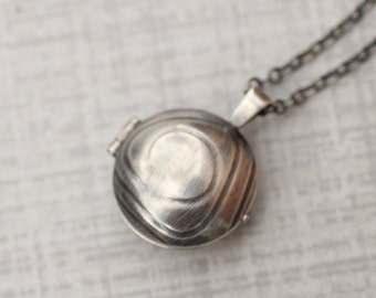 Reversible Silver Locket, Reticulated Silver Locket, Embossed Silver Locket