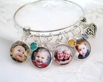 Photo Charm Bracelet Bangle Custom Photo Bracelet Photo Charm Jewelry Mother's Birthstone Bracelet Gift for Wife Photo Gift for Mom