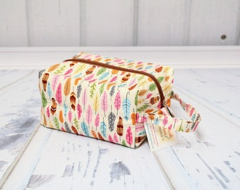 Pretty feathers fabric Knitting Project Bag, Large boxy bag, Knitting Box Project Bag.Crochet project bag, sock knitting bag