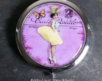 Compact Mirror Purse Mirror Pocket Mirror Handbag Mirror Dancing Lady Ballet in Purple  Bridesmaids Gift Platinum Bronze