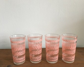 vintage pink tumbler cocktail rocks glasses. pink juice glasses. mad men 1960s barware. highball tumbler. mid century modern.
